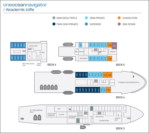 Deck Plan, Akademik Ioffe, Antarctica