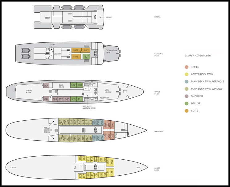 Deck Plan, Sea Adventurer, Antarctica Expedition
