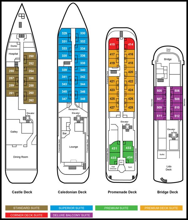 Deck Plan, Caledonian Sky, Wild Siberia cruise ship