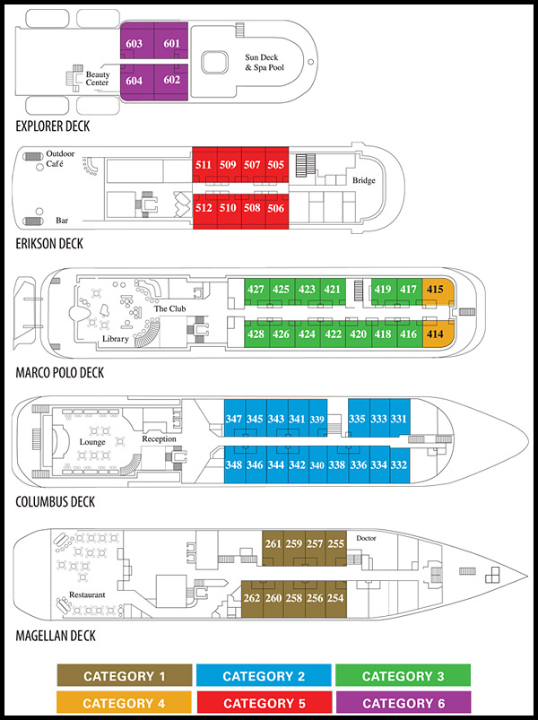 Deck plan, Island Sky, India adventure cruises