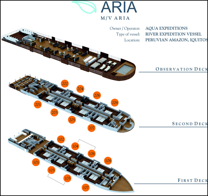 Deck plan, Aria, Amazon River ecotravel
