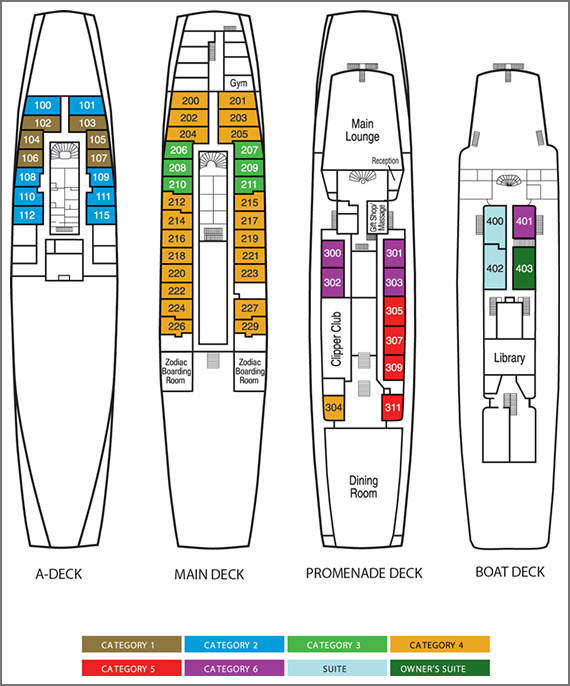 Deck Plan, Sea Adventurer, Antarctica