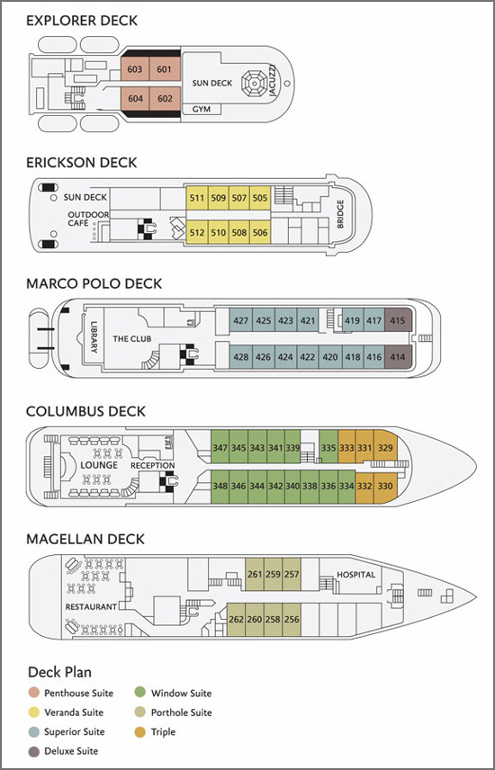Deck Plan, Sea Explorer, Greenland and Canadian Arctic