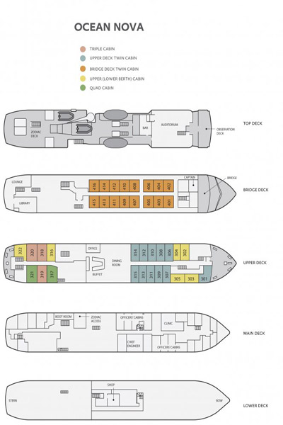 Deck Plan, Ocean Nova, Arctic Adventure cruise ship