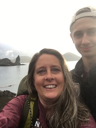 Camie with her son in the Galapagos.