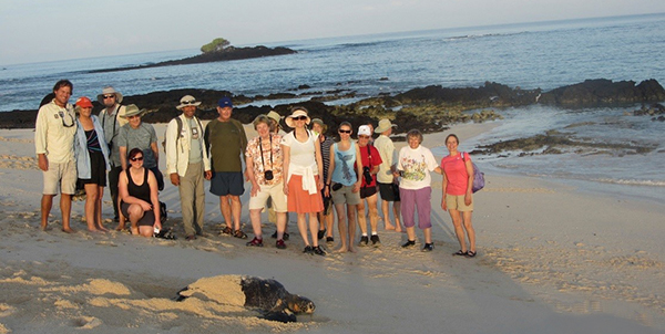 Group at the beach in the Galapagos.