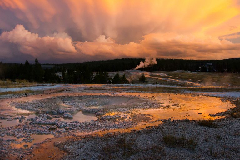 Hot springs in Yellowstone.