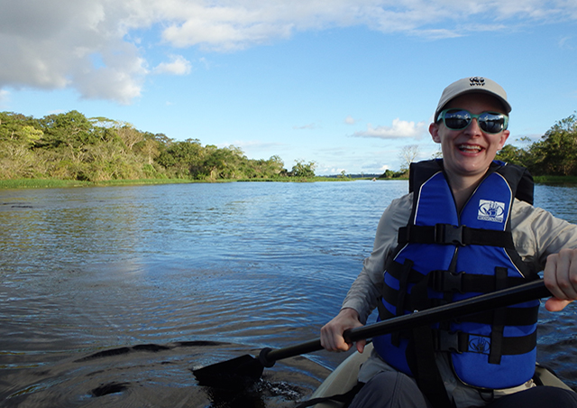 Paddling on the Amazon River in Peru.