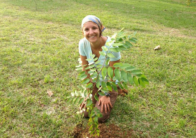 Planting the highly endangered Copaiba plant in the Mamori region of the Brazilian Amazon