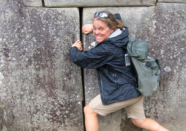 I joined our Peruvian Amazon and Machu Picchu adventure in May 2013.  Here I am trying to re-arrange the stones at the 15th century Inca site.
