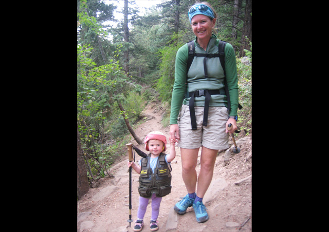 On the trail with my daughter Dominique, future adventurer