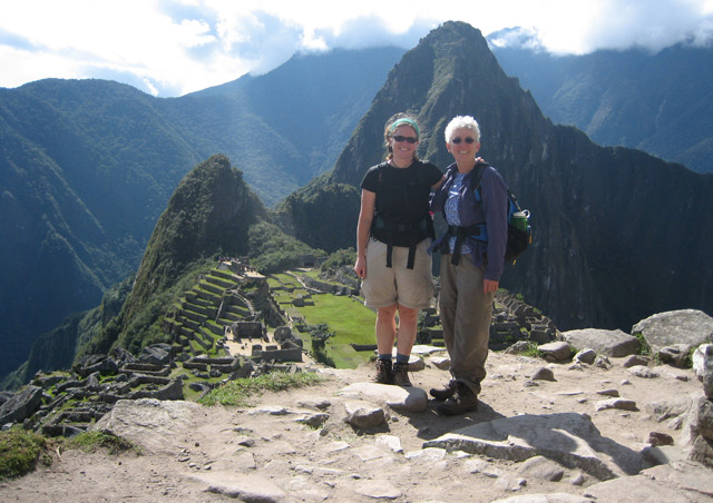 With my mom at Machu Picchu, Peru after completing the Inca Trail