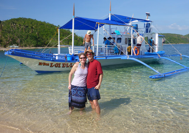 Island hopping with my husband FJ in Palawan, Philippines