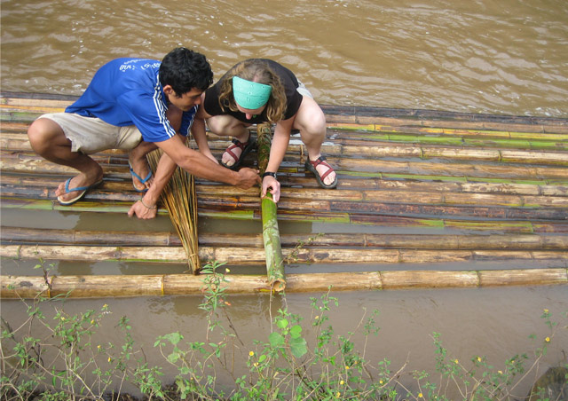 Building a bamboo raft in Chiang Mai, Thailand