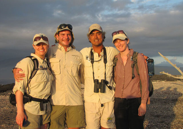 Co-worker, Sara, and two of Nat Hab's amazing guides, Giancarlo Toti and Roberto Plaza in the Galapagos.