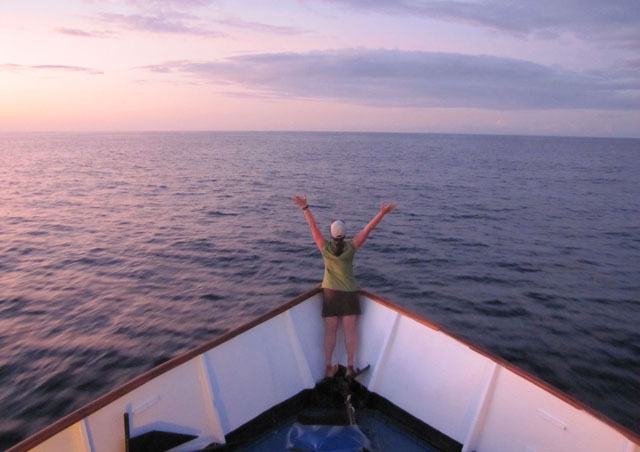 My Titanic moment in the Galapagos. Living on the Letty for a week was so much fun.