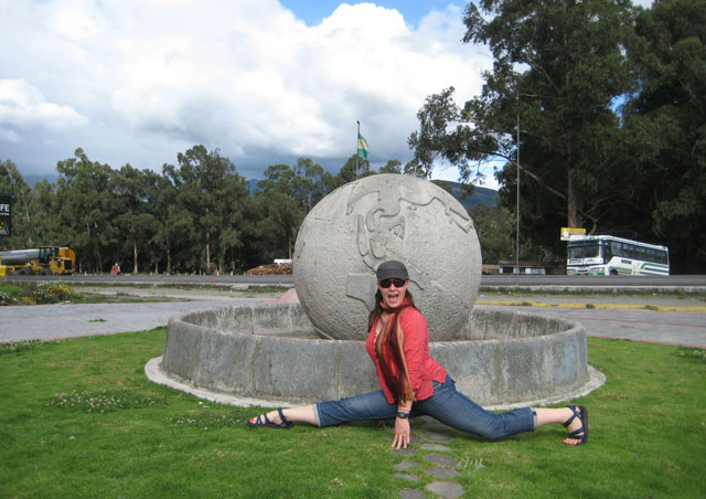 Splits over the equator, near Quito, Ecuador