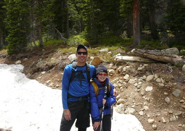Here Ben and Finlay just completed a climb of 13,300 foot Mt. Audubon. Finlay did better than his dad…