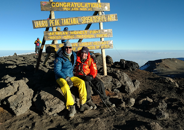 In August 2016, for his son Finlay's high school graduation, the pair climbed Tanzania's Mt. Kilimanjaro. At 19,341 feet, it is the highest peak in Africa. Though it's not a terribly challenging climb, the altitude can catch up with climbers. Ben spent the last day barely shuffling to the top and only made it with Finlay's aid.
