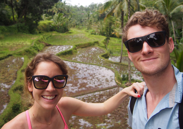 Selfies in the cliffside rice paddies of Bali