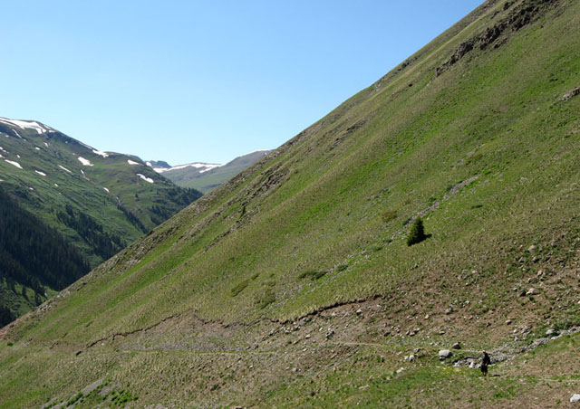 That's me on the right, hiking Grouse Gulch, just outside of Silverton, Colorado.