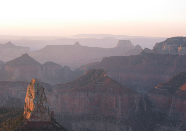 This image was taken in September (2007) at Point Imperial, on the North Rim of the Grand Canyon, just as the sun was coming up.