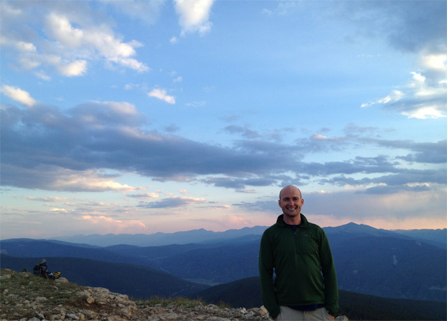 Enjoying the sunset on a hike above one of Colorado's 10th Mountain Huts in August 2014.