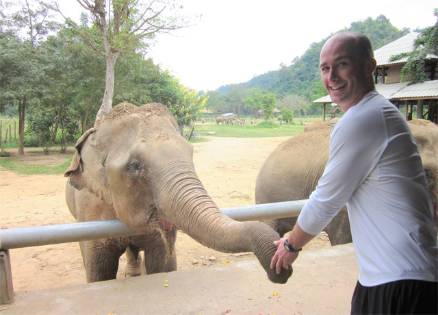 Getting up close to the wildlife at Elephant Nature Park north of Chiang Mai, Thailand, in December 2011.