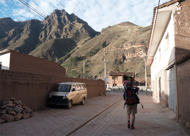 Walking through the town of Pisac, Peru, trying to find a place to sleep.