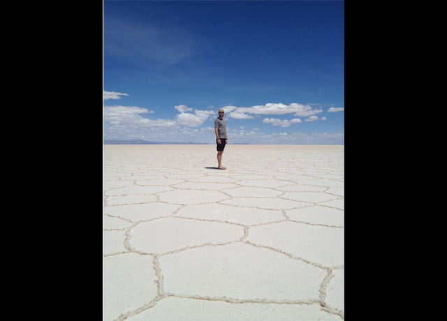 Awed by the salt flats outside Uyuni, Bolivia.
