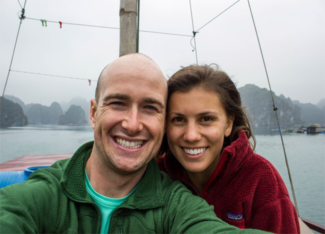 Conor and his girlfriend on a private junk in Halong Bay, Vietnam. Waking up surrounded by the mystic fog-shrouded islands and kayaking throug the small caves and inlets was amazing.