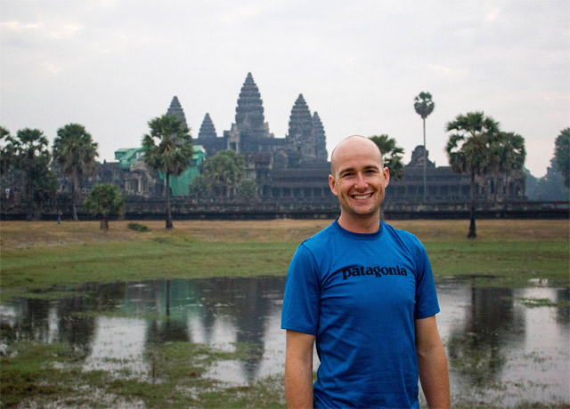 Visiting the ruins of Angkor Wat, Cambodia, in February 2013.