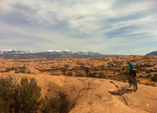 Biking the famed Slickrock trail in Moab, Utah, in April 2013.