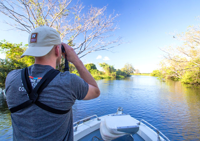 Searching for jaguars on the waterways outside Porto Jofre, Brazil, in the heart of the Pantanal in May of 2015.