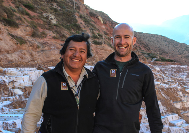Having a laugh at the Maras salt ponds in summer of 2016 in Peru's Sacred Valley with Wilfredo, one of our best Cusco guides.