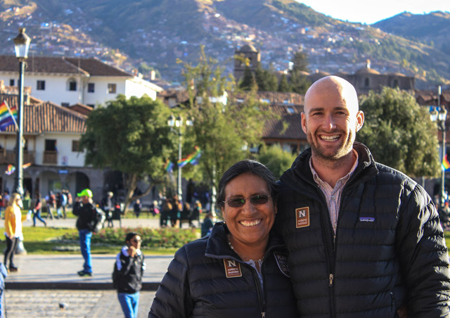 Smiling with longtime Nat Hab guide and friend Rosa in Cusco, Peru, at the end of a long scouting trip in summer of 2016.
