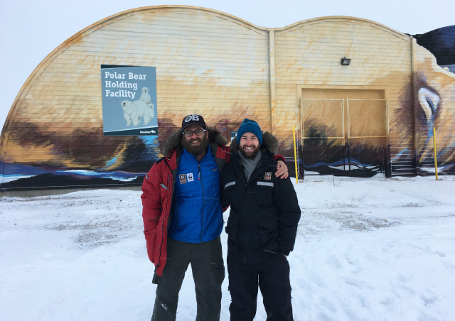 Trying to stay warm outside of the 'polar bear jail' while on a Nat Hab trip in Churchill, Manitoba, with EL Fred Ackerman on a trip in November 2017.