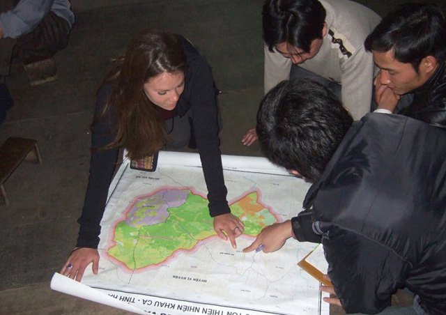 Corrin faciliating a participatory mapping project in northern Vietnam.