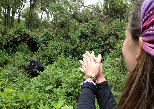 Corrin trekking gorillas with local community members in Rwanda.