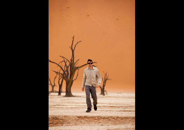 "– Just taking an afternoon stroll through ""Dead Vlei"" in Namibia"
