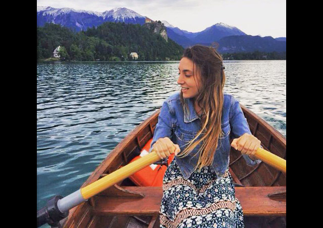 Rowing a boat in Lake Bled, Slovenia.