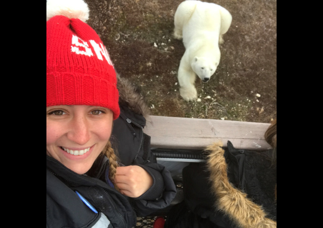 Selfie with a polar bear at our Tundra Lodge in Churchill!