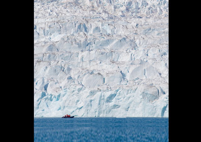 In Greenland, nature reveals itself on an almost unfathomable scale. Check out the Zodiac against the backdrop of the ice sheet.