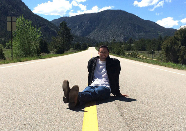 Relaxing in the middle of Poudre Canyon in Colorado. I sat here for about 20 minutes without seeing a car.