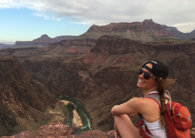 Trail running rim to river to rim in Grand Canyon, Utah