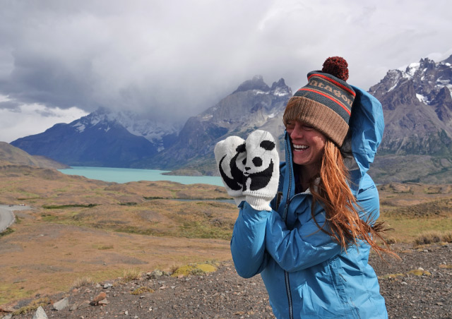 Repping my WWF mittens in Patagonia.