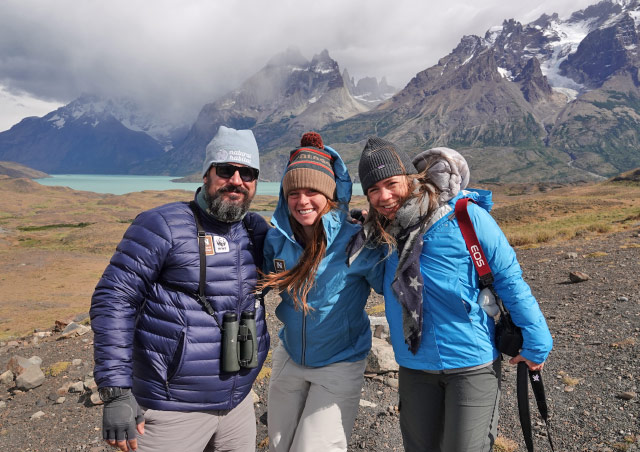 With Nat Hab colleagues Zapa and Sarah in Patagonia.