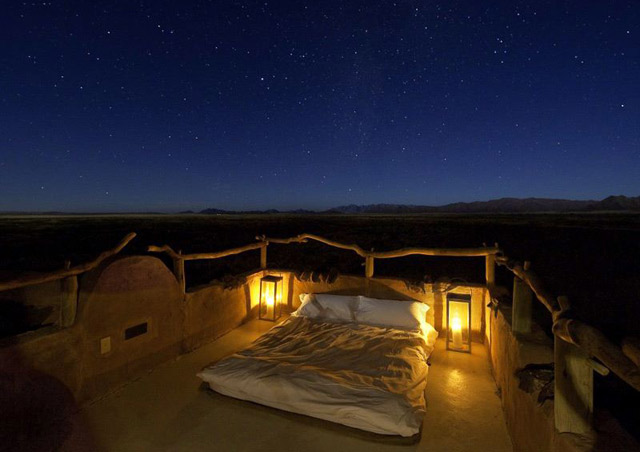 "At Little Kulala Lodge in Sossusvlei, the staff made up a ""star bed"" on the roof of my lodge. The stars were brilliant…."