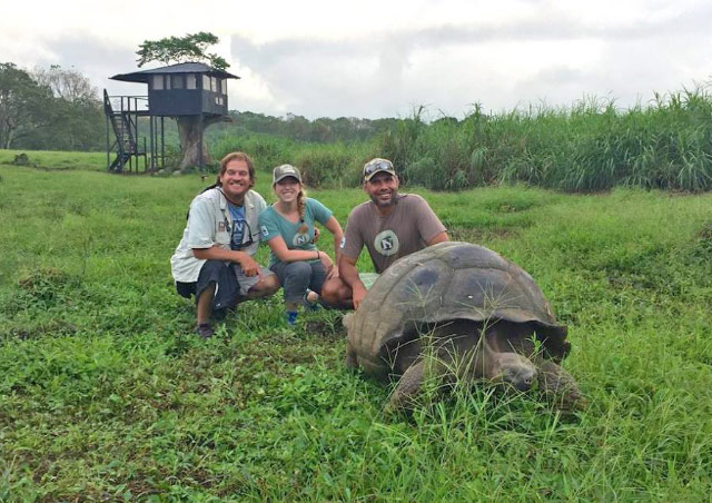Hanging out at Nat Hab's Tortoise Camp in the Galapagos with two of our amazing Expedition Leaders, Andres and Gustavo!