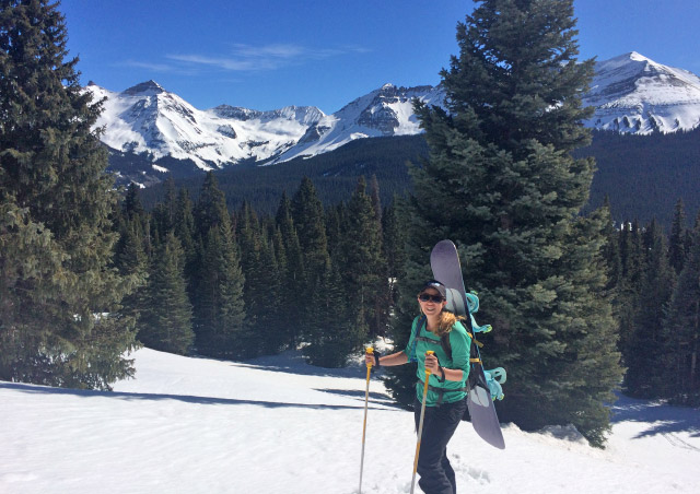 Backcountry skiing (snowboarding) in Telluride, Colorado.